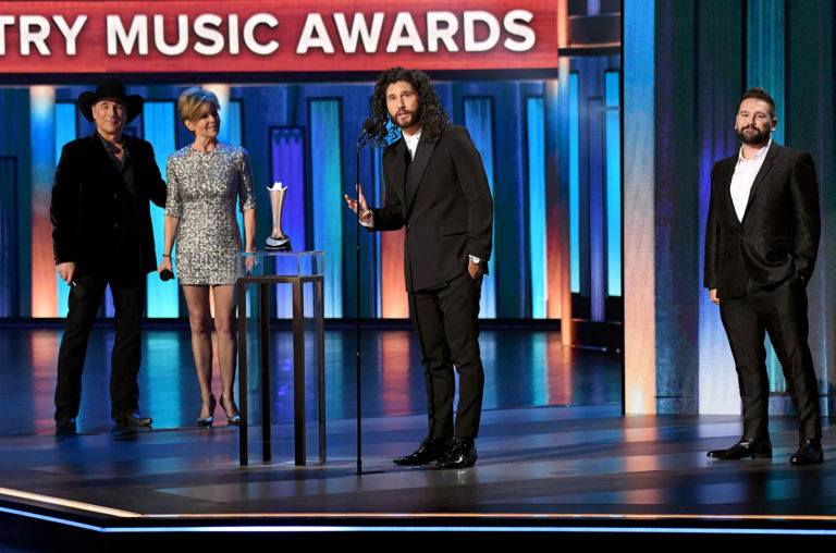 Dan Smyers and Shay Mooney of Dan + Shay accept the Best Duo of the Year award from Clint Black and Lisa Hartman Black onstage during the 55th Academy of Country Music Awards at the Grand Ole Opry on Sept. 16, 2020 in Nashville.